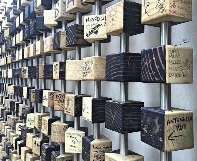 Wall Art Design Cubes Wooden Blocks Expression Queen Elizabeth Olympic Park Pixel Wall Light And Dark Patterns & Textures Images Text Message Board Colors And Patterns created by Tomato