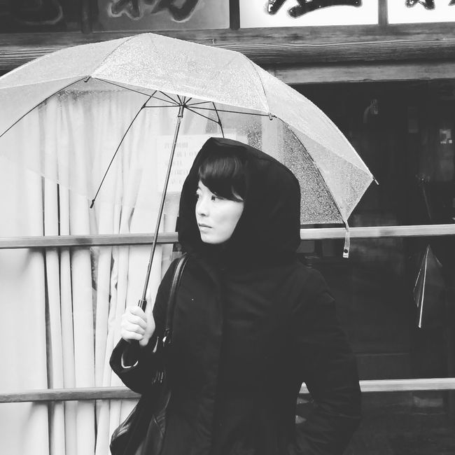 Lady in Black with Umbrella... Portrait Of A Woman Monochrome Raining Drizzling Rainy Day From My Point Of View Capture The Moment Composition Black And White Black And White Photography Street Photography Looking Away Walking Around PhonePhotography IPhoneography Minimalism Women Who Inspire You People And Places Monochrome Photography