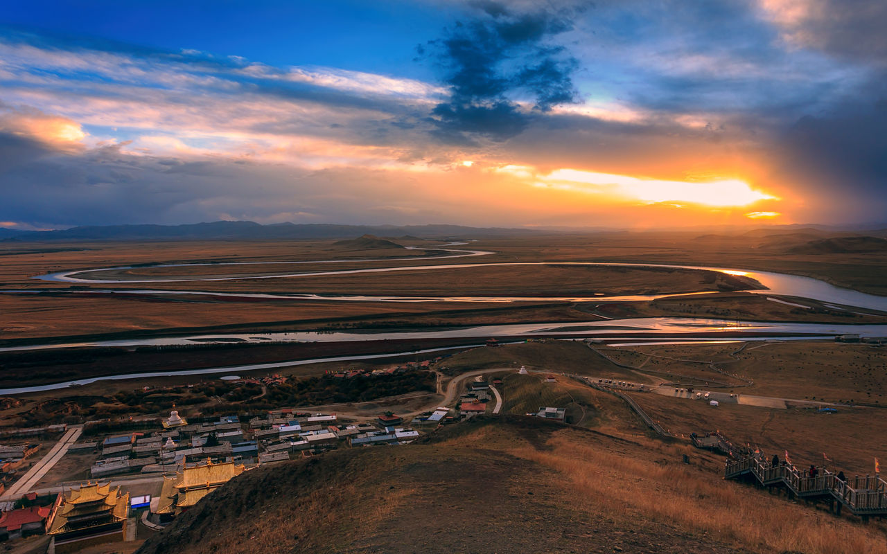 Winding Yellow River in Gansu, China China View Curl Landscape Mountain No People Outdoors River Scenics Sunlight Sunset Winding Yellow