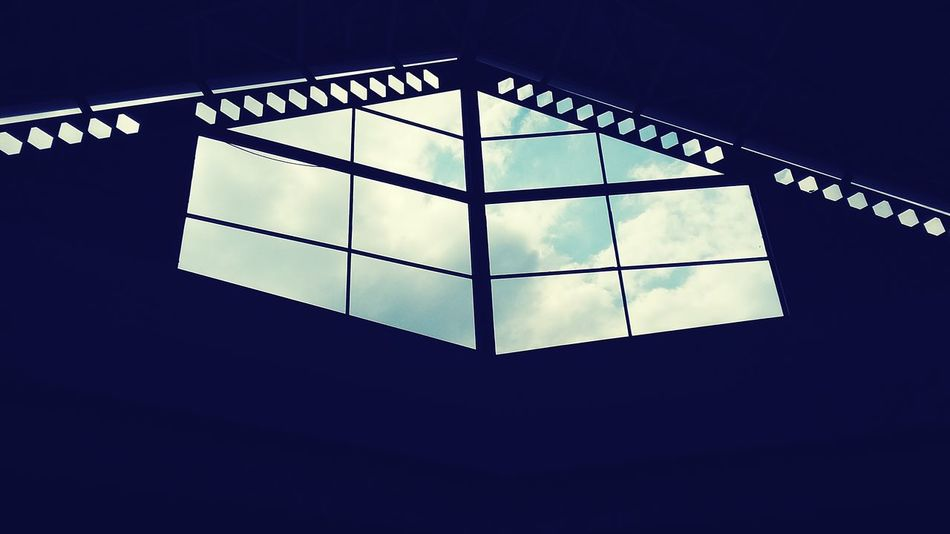 Indoors  Low Angle View Sky No People Indoors  Low Angle View Sky No People Architecture Day Windows Window View Mall Mexican Architecture Clouds And Sky Rectangles Rectangular Frame Hexagon Hexagons