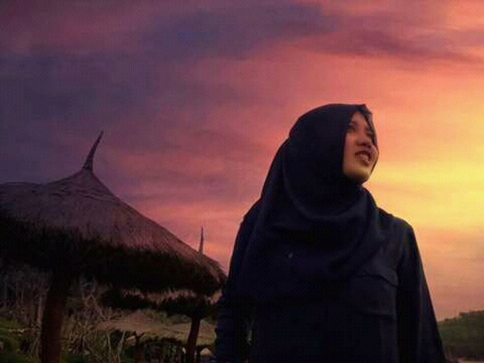 Muslim travellers Sunset Nature Outdoors Mountain Landscape Cape  Sky People One Person Photo Of The Day Photo Love Photography LoveNature Photography Themes Beauty In Nature Nature One Woman Only Indonesia_photography LoveNatureAndMountain Cloud - Sky Beach Beach Photography Beach Sunset Beach View Beach Holiday