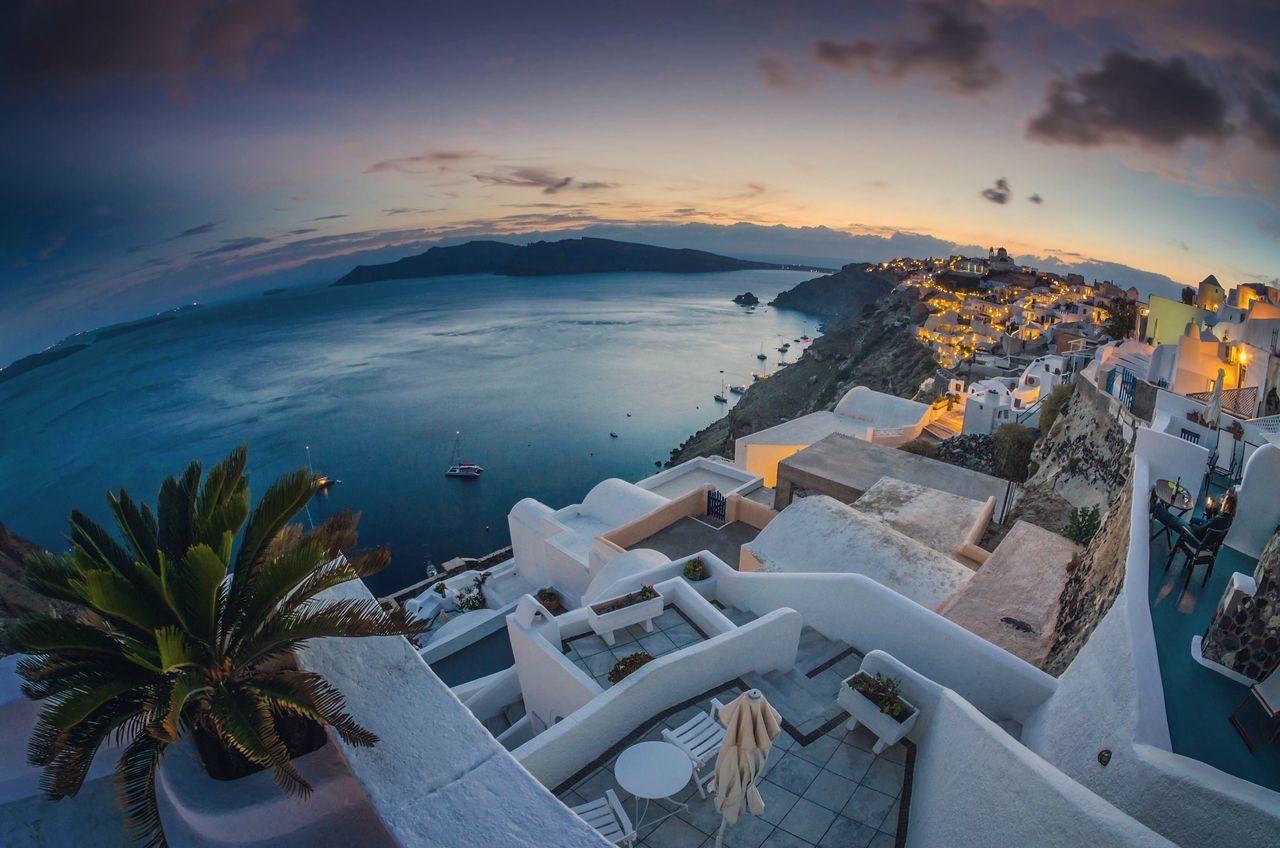 Cyclades Horizon Cyclades Santorini Oia Curved Earth Greece Sea And Sky Dusk Sunset Wide Angle Wide Open Spaces Learn & Shoot: Balancing Elements Waterscape Long Exposure Beauty In Nature Fisheye Holiday View  Holiday Sunset Greek Holiday Island Relaxing Clouds Landscapes With WhiteWall The Architect - 2016 EyeEm Awards The Essence Of Summer 43 Golden Moments