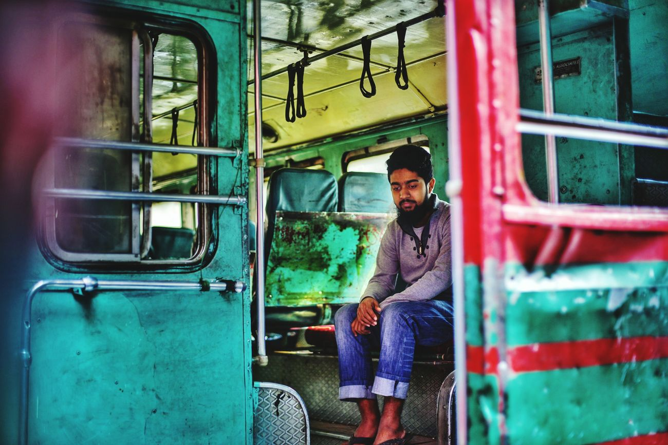 One Person Train - Vehicle Beard Public Transportation Land Vehicle Urban Urban Portrait Color Photography Bangladesh Diaries Full Frame Low Angle View The City Light