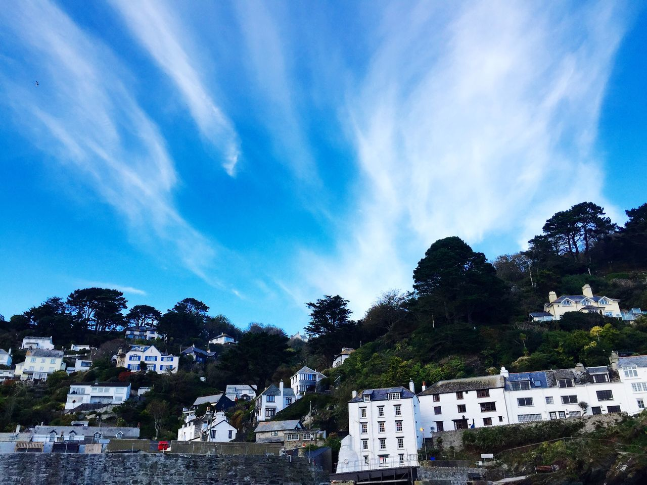 Cornish Landscape Cornish Coast Cornish Village Cornwall Uk Blue Sky Dramatic Sky White Houses Hillside Hillside View