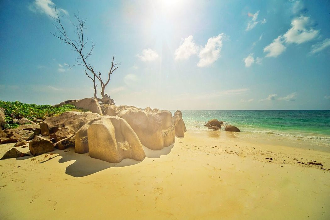 Sky Sea Sand Beauty In Nature Nature Beach Tranquility Scenics Tranquil Scene Sunlight Horizon Over Water No People Water Outdoors Day Seychellen Seychelles Praslin Praslin Seychelles