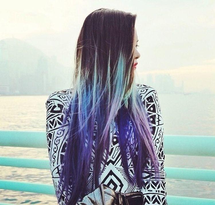 Hair Girl Violet Hair / Blue Hair