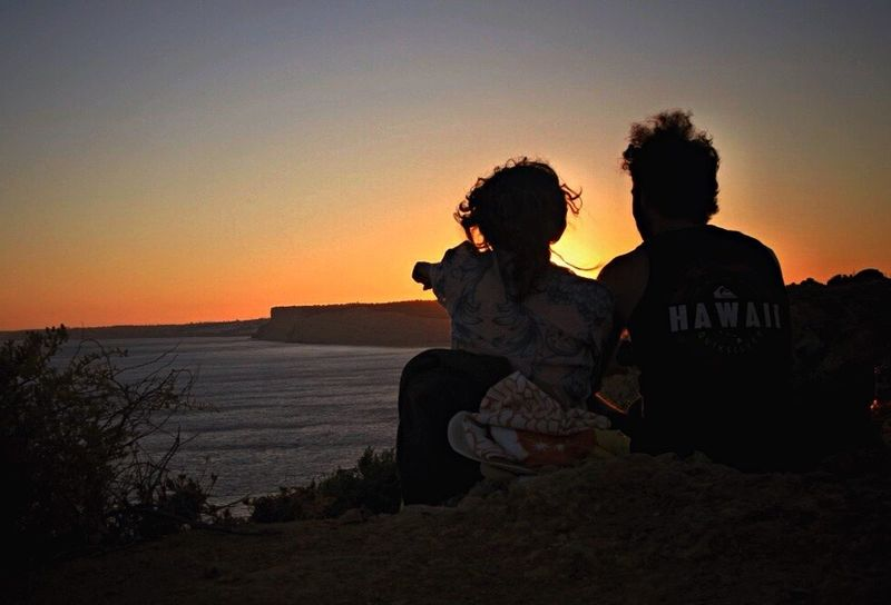 People Watching Enjoying The View Sunset_collection Better Together The Essence Of Summer Walking Around Taking Pictures Lagos Sunset Silhouettes Porto De Mos Praia From My Point Of View Simple Things In Life Cliffside Sunsetlovers Great Things For Free
