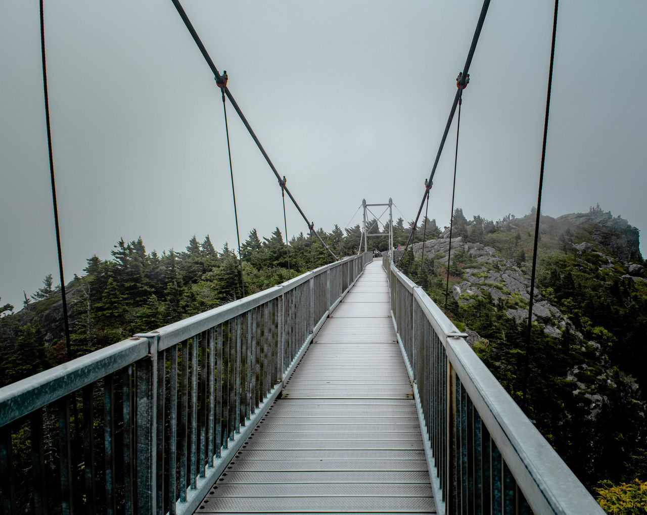 This is Mile High Bridge on top of Grandfather Mountain in North Carolina. This is a shot with no one on it which is definitely a waiting game. It is a very busy landmark. This was taken when I first arrived in the morning. It was very foggy. You could say my head was in the clouds :) The next shot shows the bridge an hour later with the fog lifted, the blue sky shining through, and my head no longer in the clouds lol Architecture Architecture Bridge Bridge - Man Made Structure Built Structure Cable Composition Connection Diminishing Perspective Electricity  Electricity Pylon Engineering Ladyphotographerofthemonth Landscape Leading Long Narrow Pattern, Texture, Shape And Form Perspective Power Line  Railing Seeing The Sights Showcase: November Suspension Bridge Everything In Its Place