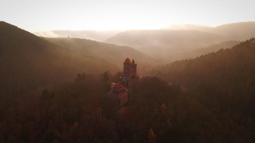 Palatinate Forest. Dji Aerial View Architecture History Travel Destinations Mountain Built Structure Fog Beauty In Nature Day Outdoors Landscape Mountain Range No People Building Exterior Nature High Angle View