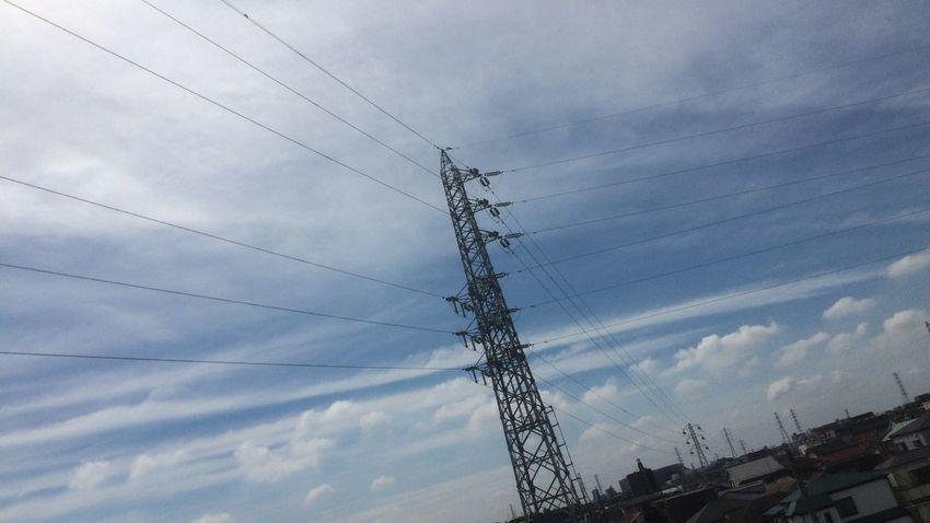 イマソラ ノンフィルター 鉄塔 電線 今日も楽しい雲いっぱいo(*^▽^*)o