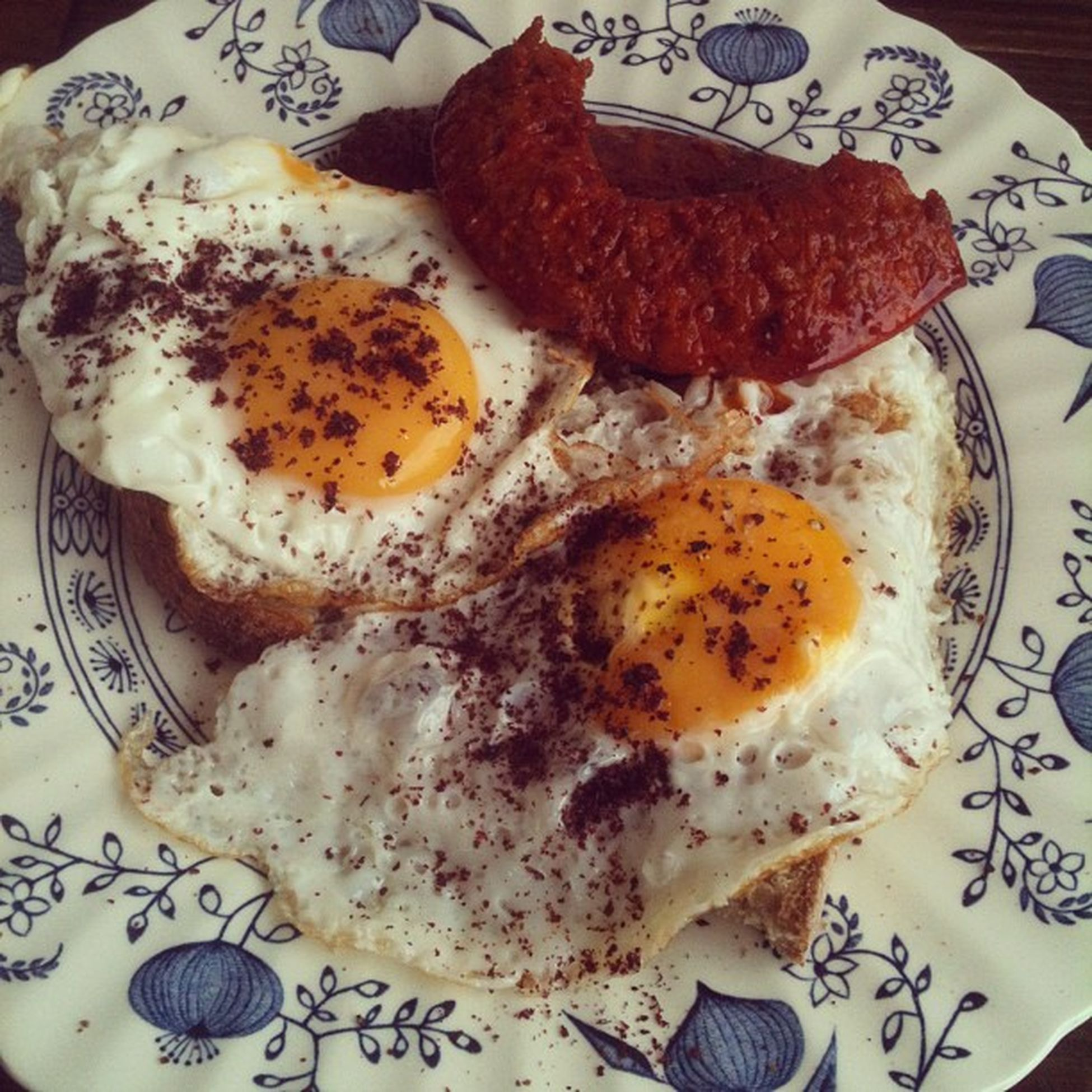 Fried eggs on toast with chorizo Foodspotting