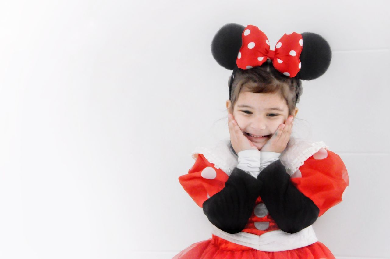 Red Childhood Happiness Looking At Camera Child Portrait Celebration One Person Heart Shape Smiling Cheerful Children Only White Background Front View Close-up Indoors