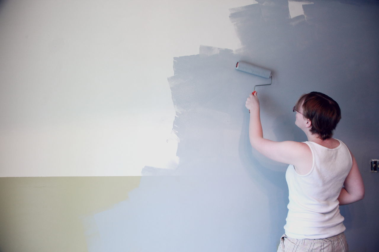 Hannah Painting our living room wall. Casual Clothing Day DIY Fresh Paint Gray Holding Home Home Improvement Home Makeover Home Renovation  Indoors  One Person Paint Roller Painting People Real People Rear View Standing Update Utah Wall Washington Terrace Women Young Adult