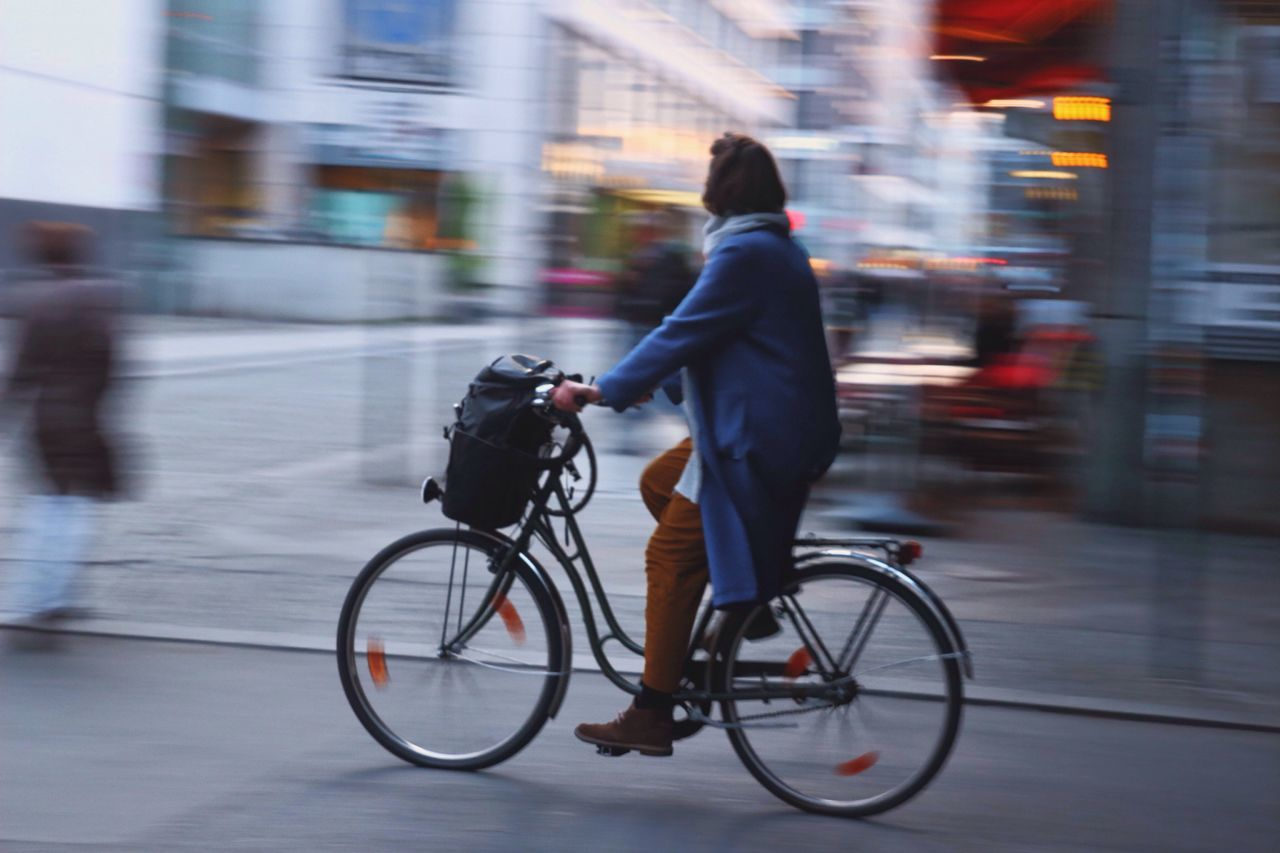Transportation. Blurred Motion Bicycle Motion On The Move Street Cycling Transportation Outdoors Speed City Day Berlin Romantic Woman Streetphotography Colors Colorful First Eyeem Photo