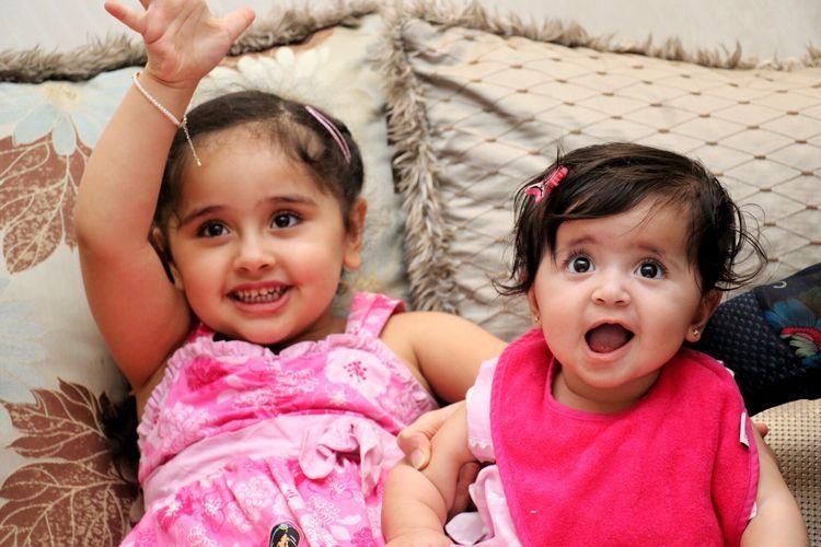 Girls Kids Childhood Sisters Portrait Cute Pink Smile Infant Flash Indoors