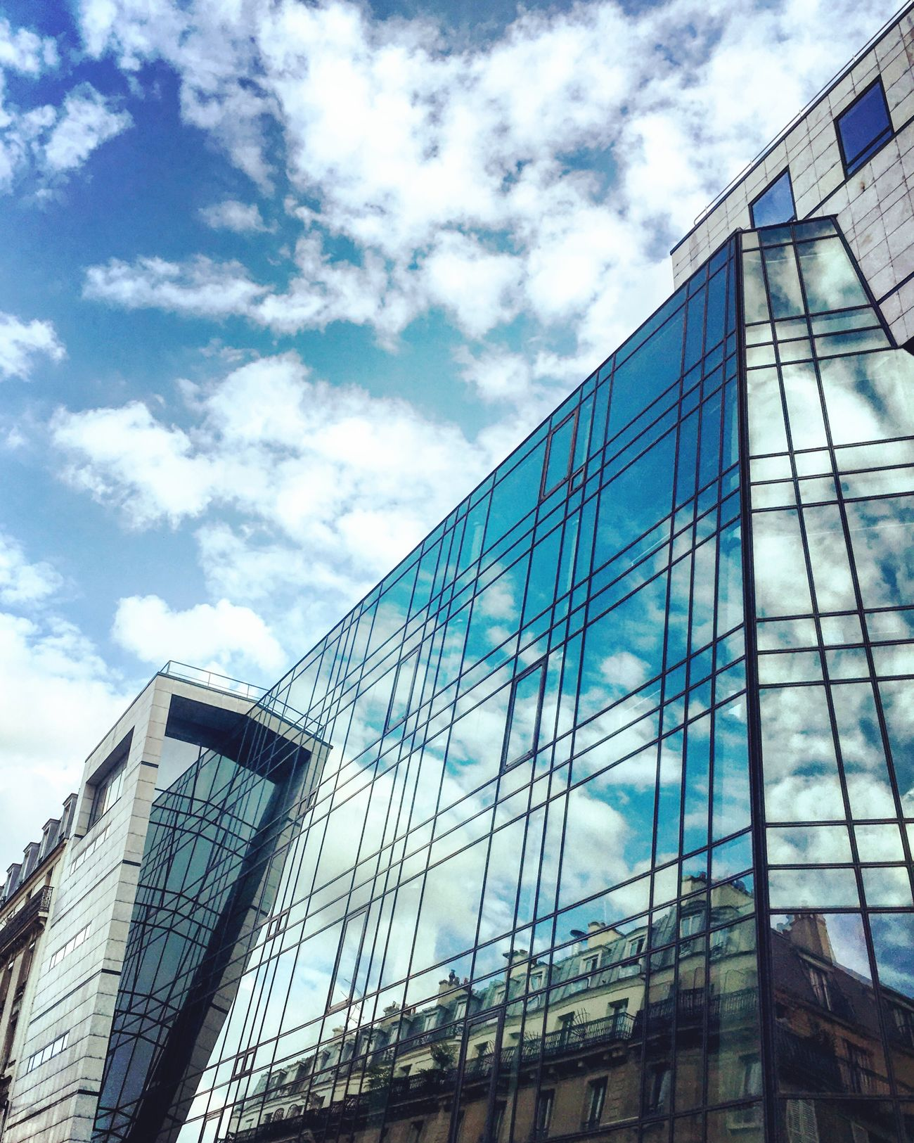Buildings Reflection Windows Sky Clouds Street Streetphotography Geometry Perspective Urban Geometry Urban Architecture Architectural Detail Mmaff From My Point Of View Eye4photography  EyeEm Gallery Taking Photos Hello World