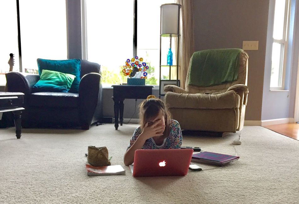 Tough Homework!!! Sofa Living Room Indoors  Child Window Childhood Children Only One Person Full Length One Girl Only People Day Armchair Technology Horizontal SchoolWork Education Hard Working Smart Girl Teenager Enjoy The New Normal