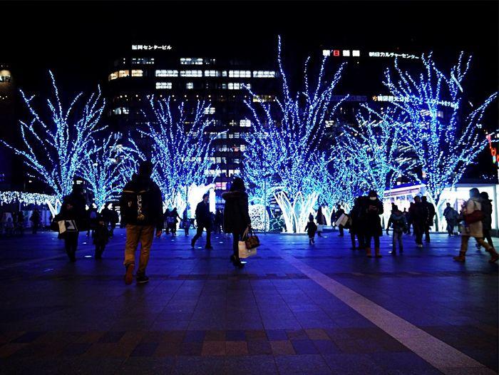 Best Christmas Lights : Jr Hakata City ( Hakata Station / JR Kyushu ) Hakata side Square : Panasonic Lumix GX1 LUMIX G VARIO 14-45/F3.5-5.6 28mm / Christmas Decorations Nightphotography People Watching Silhouette Low Angle View December 18 Last shot Japan Scenery
