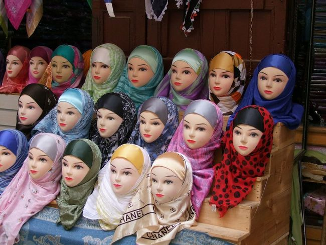 Headscarf Display Bazaar Clothing Colouful Culture Day Display Dummy Heads Dummys Fes Full Frame Headscarfs Indoor Photography Indoors  Morocco Multi Colored No People Retail  Selling Shop Side By Side Tourism Traditional Unusual