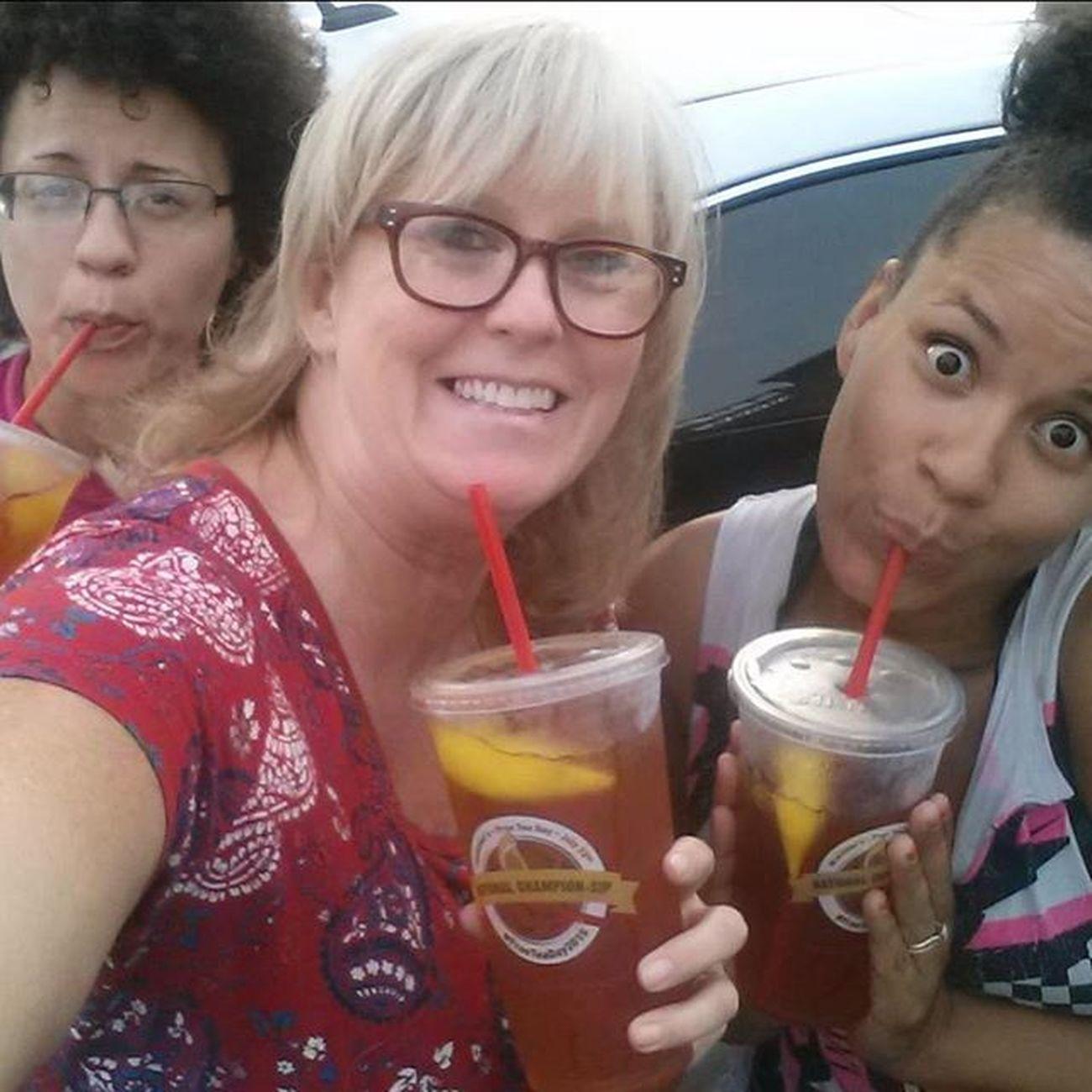 SouthernWomen and their SouthernComfort ... Mcalistersdeli FreeTeaDay2015 WeLookLikeACookie ALemonCookieBcWereYellow 😂 MommyDaughters BiracialBus