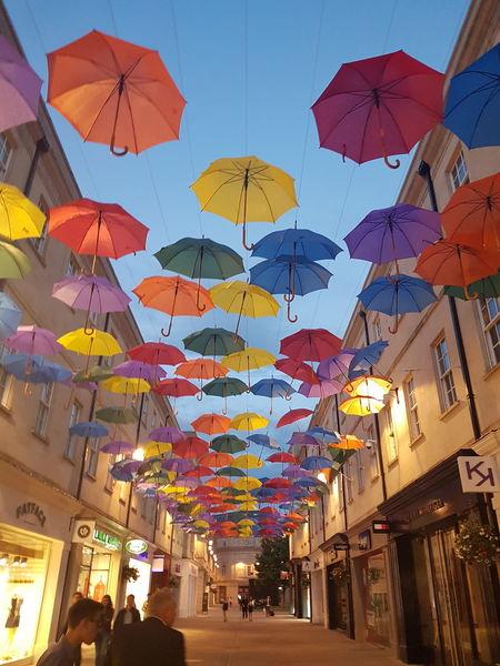 #cityofBath #bath #umbrella #City #citylife #cityscapes #colours #colorful Multi Colored Hanging Celebration Architecture People Crowd Day Colour Your Horizn