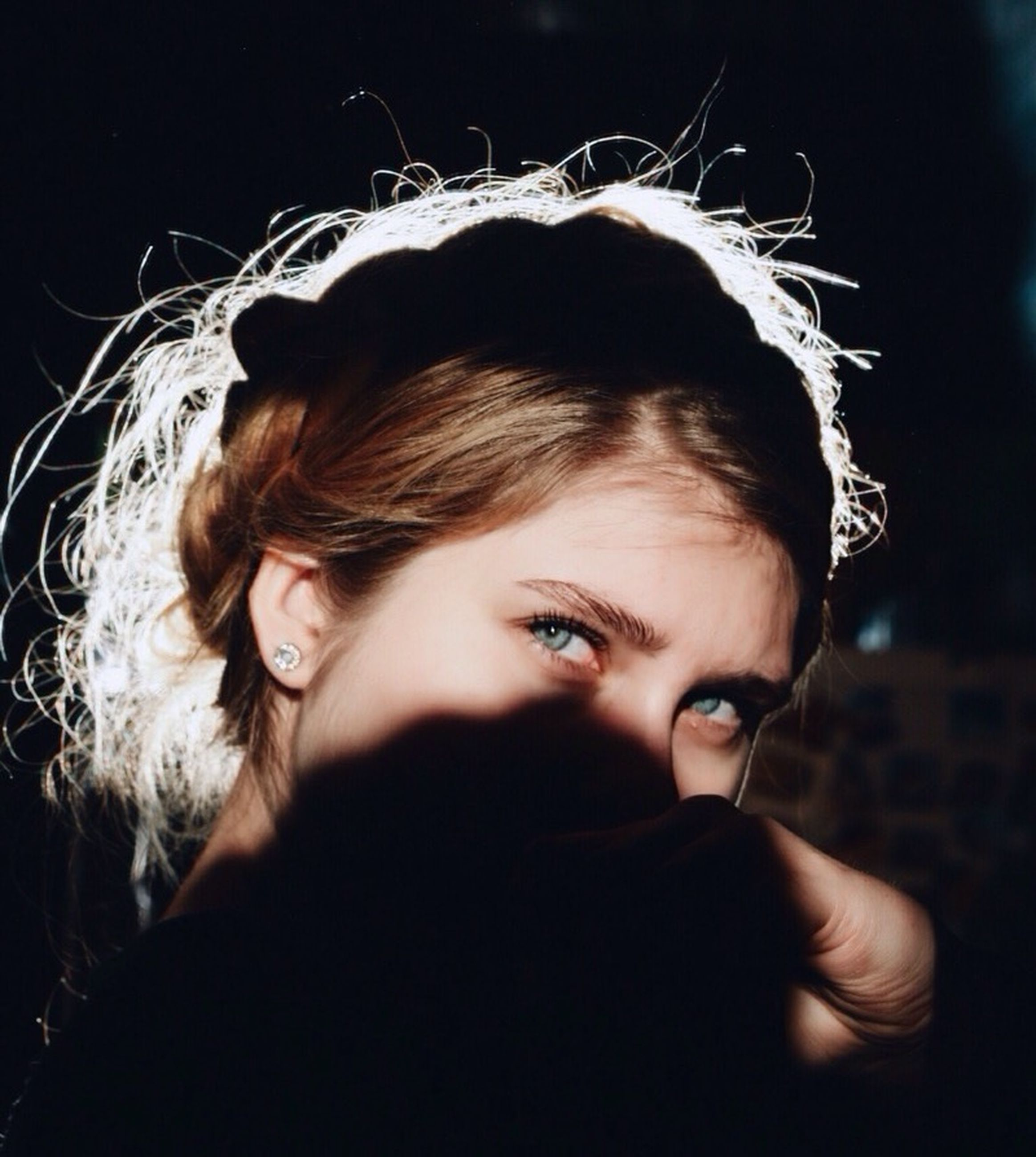 headshot, young adult, lifestyles, young women, person, portrait, looking at camera, long hair, close-up, front view, leisure activity, focus on foreground, contemplation, human face, head and shoulders, serious