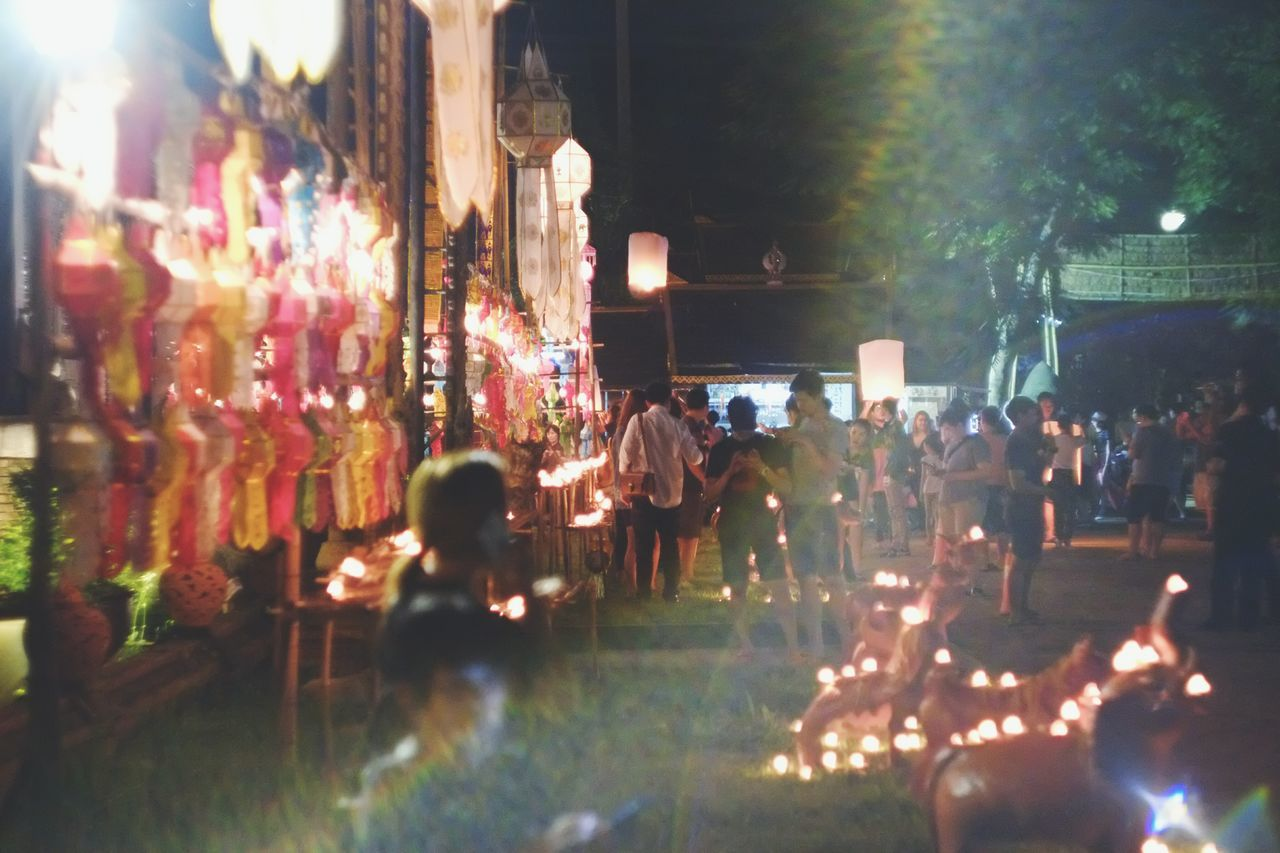 Busy night Large Group Of People Leisure Activity Lifestyles People Night Nightlife Illuminated From My Point Of View Hanging Out Taking Photos EyeEm Best Shots Light And Shadow Hello World Event Chiang Mai Celebration Togetherness What Who Where EyeEmBestPics City Candle Light