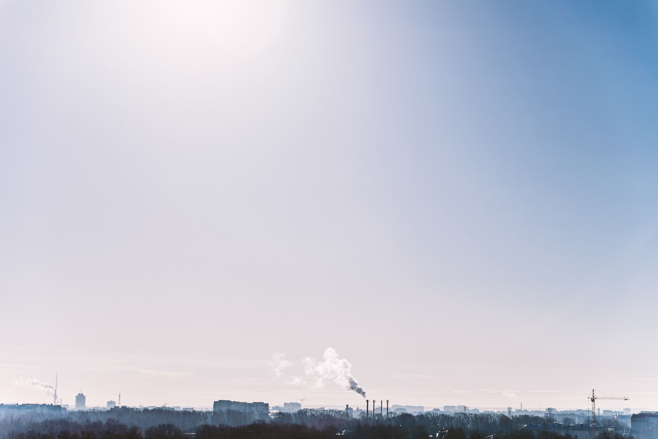 industry, pollution, emitting, smoke stack, factory, no people, chimney, built structure, sky, outdoors, day, fumes, clear sky, architecture, building exterior, nature, beauty in nature, city, vapor trail