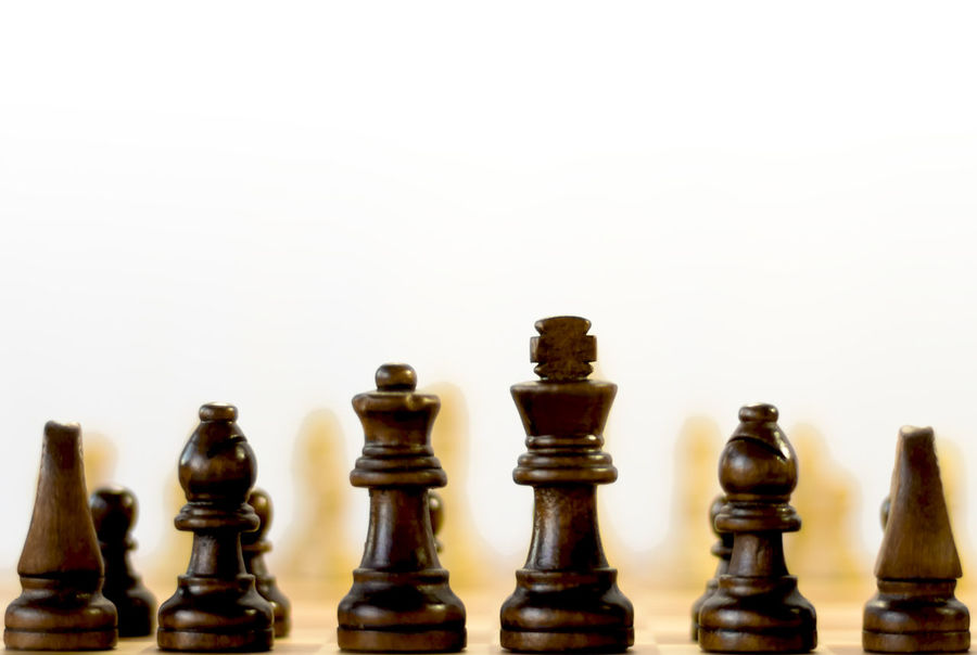 Fight Plant Rear View Chess Chess Board Chess Piece Close Up Indoors  King - Chess Piece Knight - Chess Piece Leisure Games Logic No People Nobody Pawn - Chess Piece Queen - Chess Piece Strategy Studio Shot White Background Wood - Material