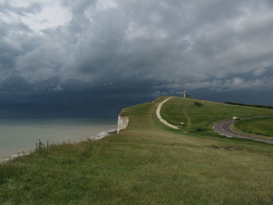 Beachy Head Beauty In Nature Cloud - Sky Day Grass Green Color Growth Idyllic Landscape Nature No People Outdoors Scenics Sea Sky The Purist (no Edit, No Filter) Tranquil Scene Tranquility Water Weather