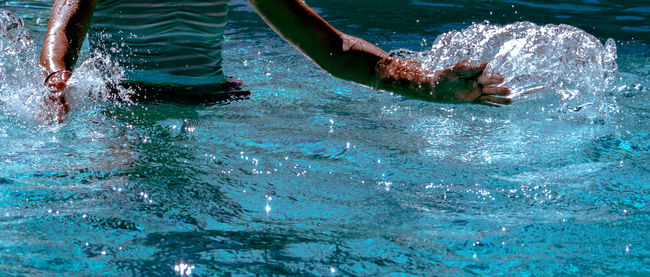 Blue Day Hands Outdoors Pool Reflection Rippled Splashing Swimming Water