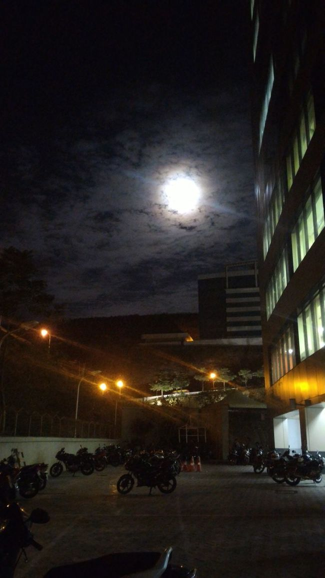 Kotaktower Night View Moon And Lights Random Clicks View From Parking Lot Awesome View