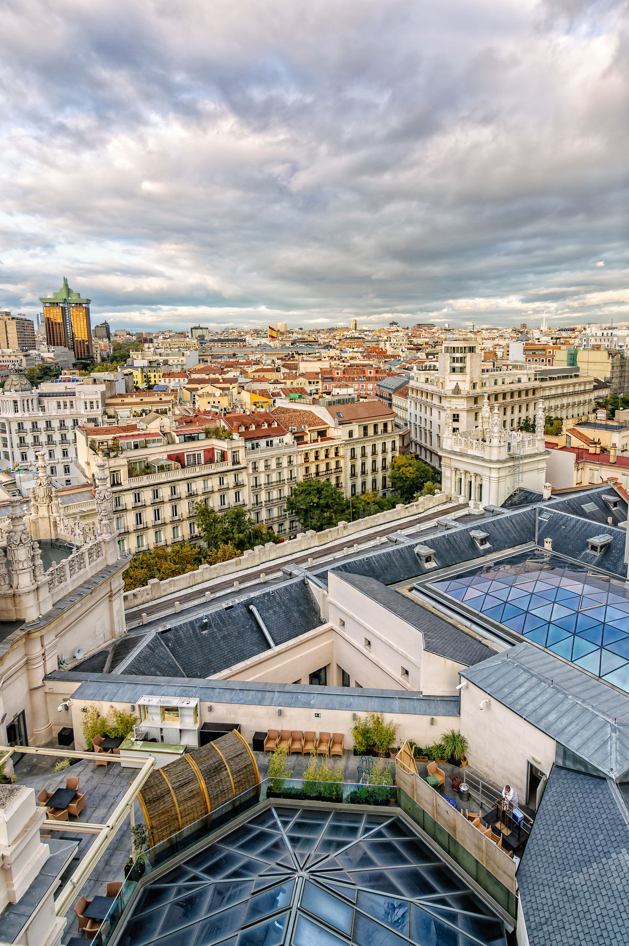 Madrid skyline from town hall at sunset Architecture Building Terrace Capital Cities  Cibeles City City City Life Cityscape Cityscape Day European  High Angle View Madrid Modern No People Outdoors Sky Skylight SPAIN Sunset Travel Destinations Urban Urban Skyline Vacations