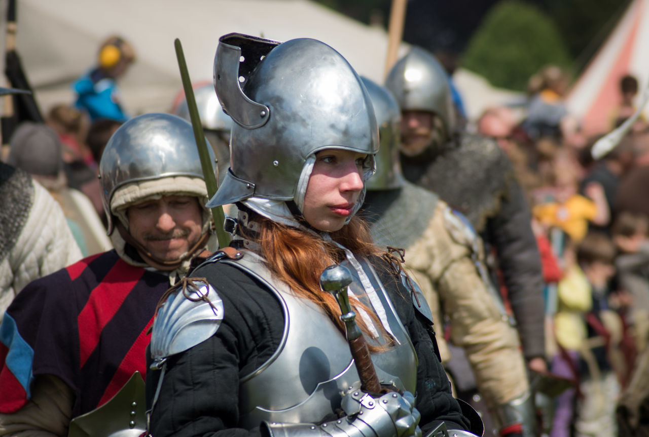 Focus On Foreground Leisure Activity Reënaction Belgium. Belgique. Belgie. Belgien. Etc. Festive Young Women Folklore Jeanne d'Arc Traditional Clothing quondam