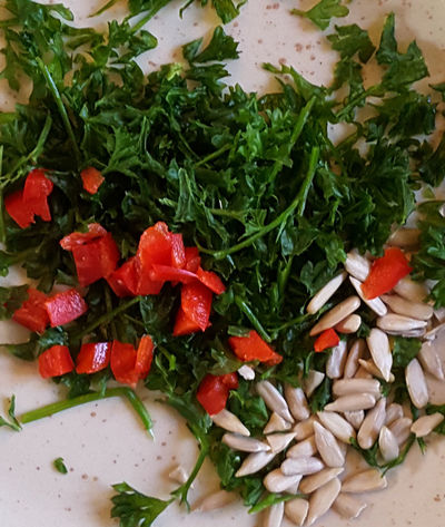 preparation for guacamole Red Pepper Parsley Sunflower Seeds