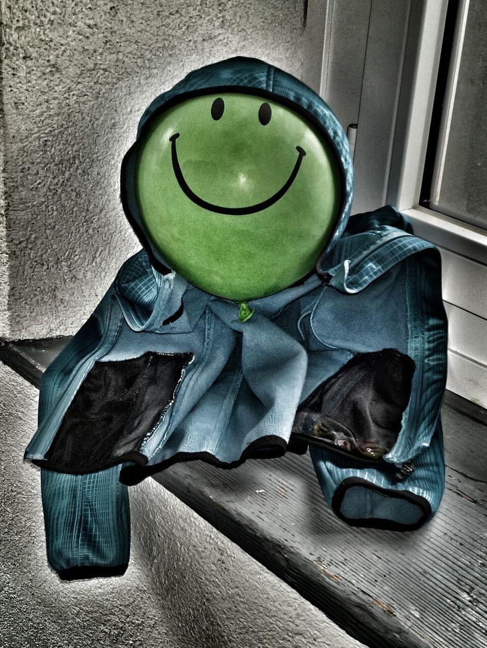 Mister Balloon-Man Green Balloon Green Green Color Jacket Blue Jacket Blue Blue Color Smile Joke Filter Filtered Image The Architect - 2016 EyeEm Awards