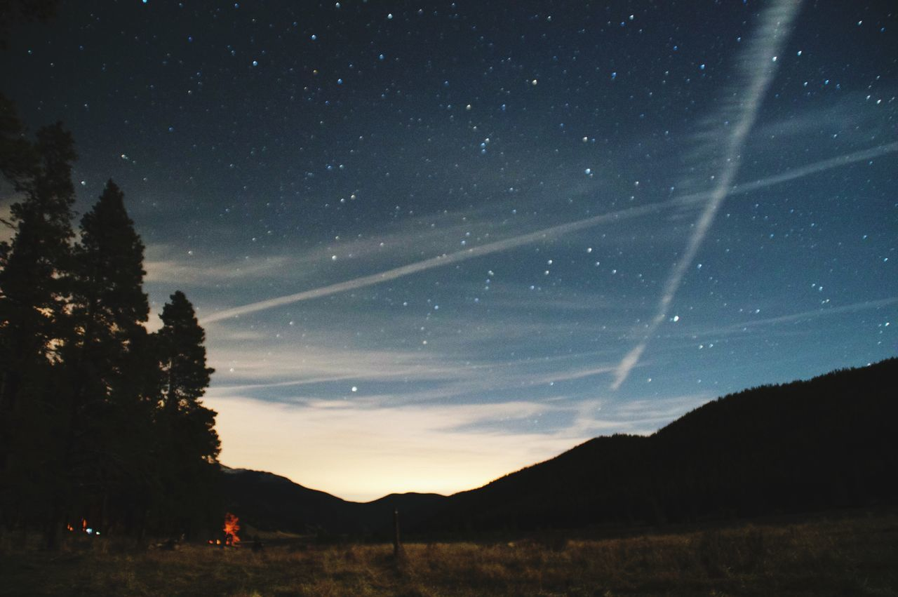 beauty in nature, nature, night, scenics, sky, star - space, tranquility, tranquil scene, silhouette, outdoors, mountain, no people, tree, astronomy, galaxy