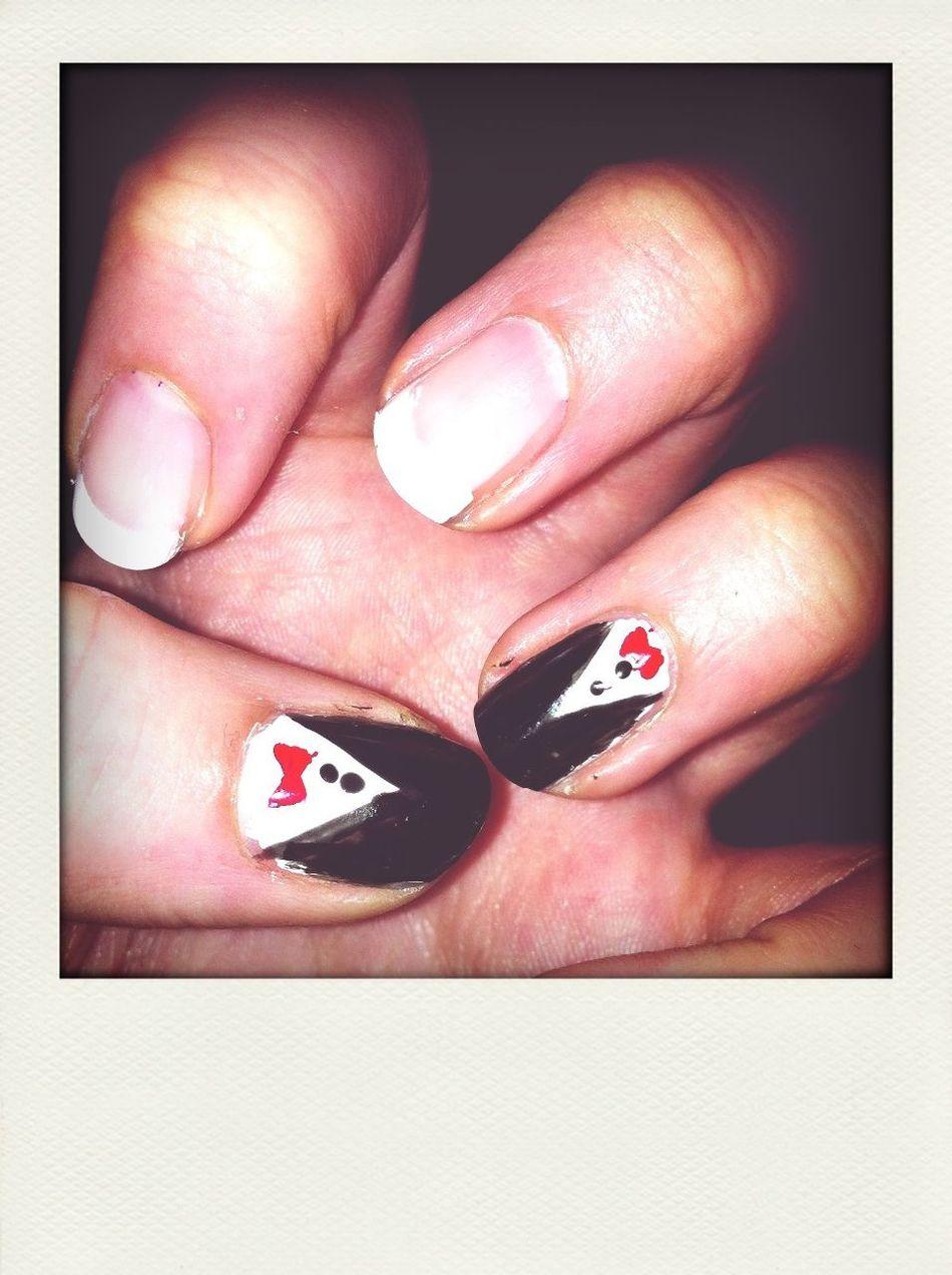 Tuxedo Nails :D X