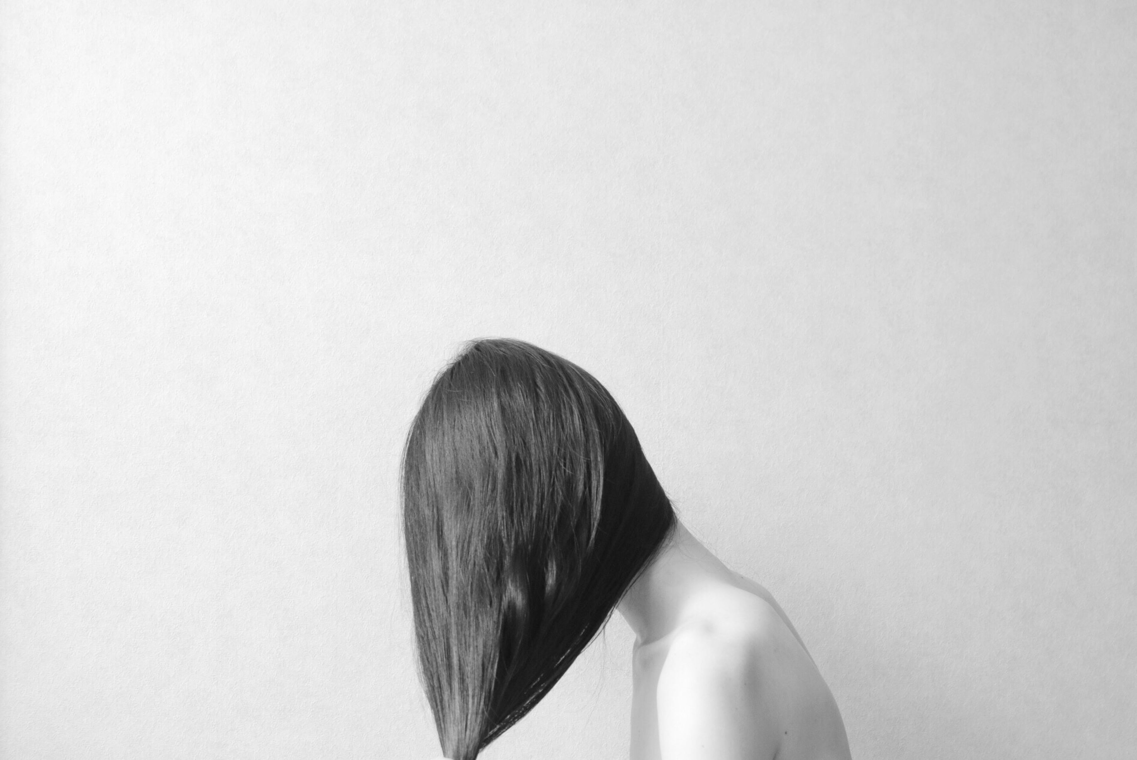 long hair, human hair, rear view, white background, studio shot, in front of, straight hair