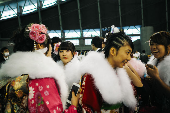 Group of Japanese Girls in kimonos during Coming-of-Age Day Celebration Ceremony Coming Of Age Day Girls Indoors  Japan Kimono