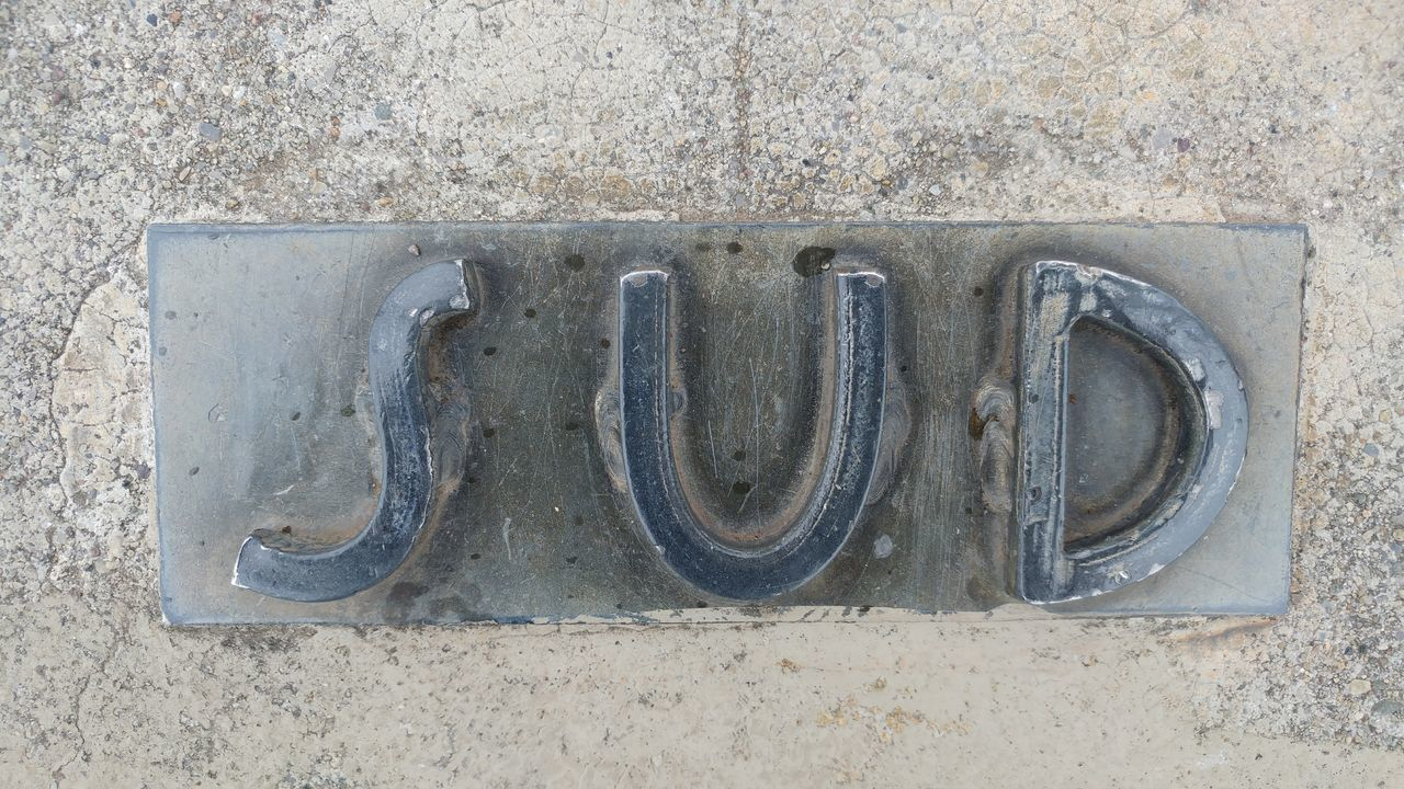 Sud Outdoors Day South World Map Direction Location North South East West No People Close-up Word Letters