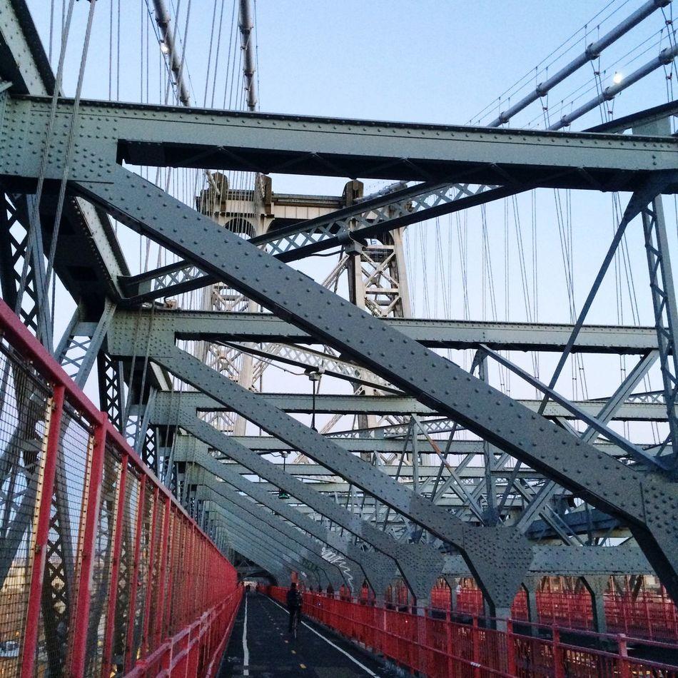Bridge Williamsburg Bridge OnTheBridge Blueandred NYC Overtheriver Overeastriver Smoothpathway