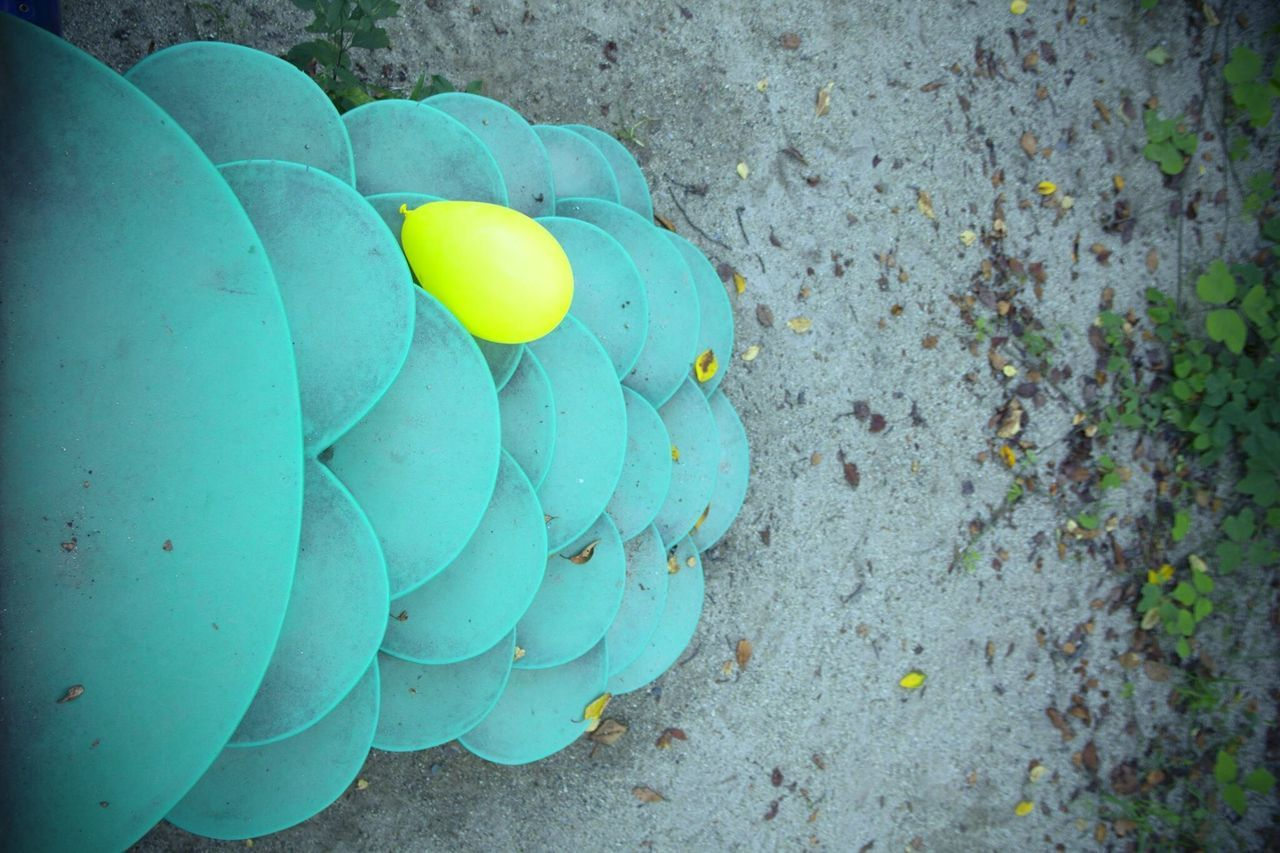 high angle view, no people, outdoors, day, food and drink, balloon, food, multi colored, close-up