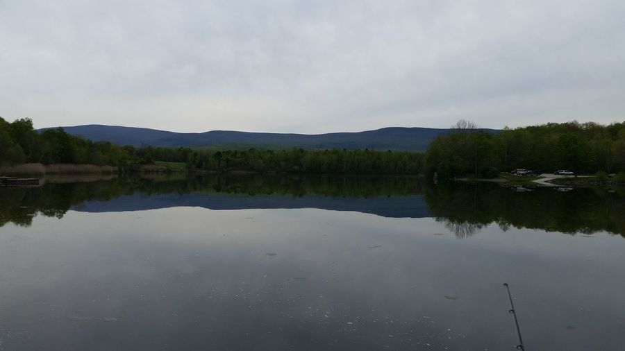 Water Reflections Lake View Placid  Mountain View Green Mountain State Fishing Pole