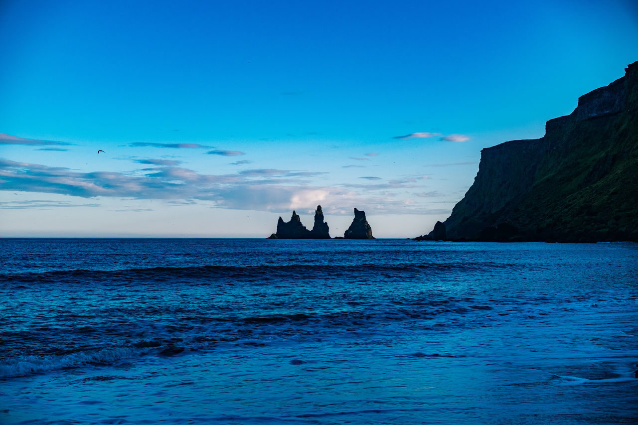 Iceland Vík í Mýrdal Beauty In Nature Blue Day Horizon Over Water Nature No People Outdoors Rock - Object Scenics Sea Silhouette Sky Tranquil Scene Tranquility Water Waterfront