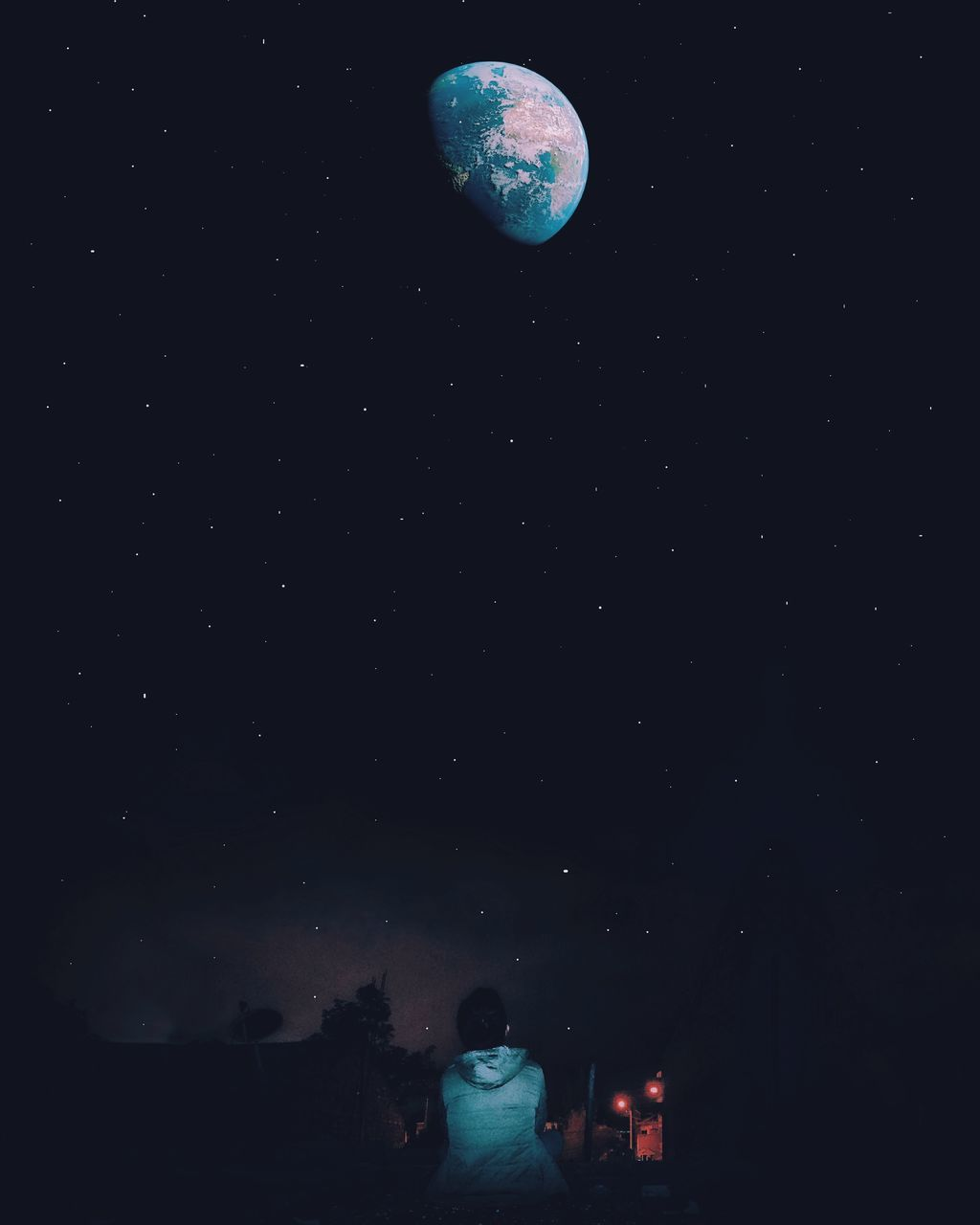 night, astronomy, real people, star - space, moon, space, space exploration, rear view, nature, star field, sky, beauty in nature, planet - space, moon surface, galaxy, leisure activity, outdoors, scenics, lifestyles, constellation, illuminated, starry, one person, people