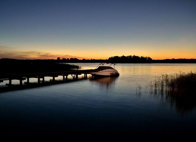 Sunset Water Sunset Tranquility Lake Nature Scenics Beauty In Nature Sky Blue No People Outdoors Standing Water Non-urban Scene Orange Color Lake Poland Polska Idyllic Majestic Masuria Warmia Mazury Reflection