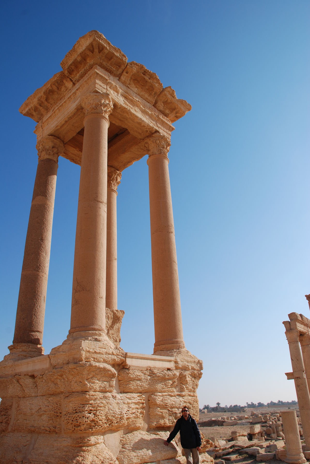 2009 Ancient Civilization Architectural Column Architecture Archival Before War Blue Clear Sky Cultures Day History Old Ruin Palmyra Sky Syria  Tetrapylon Gate The Past Tourism Travel Destinations