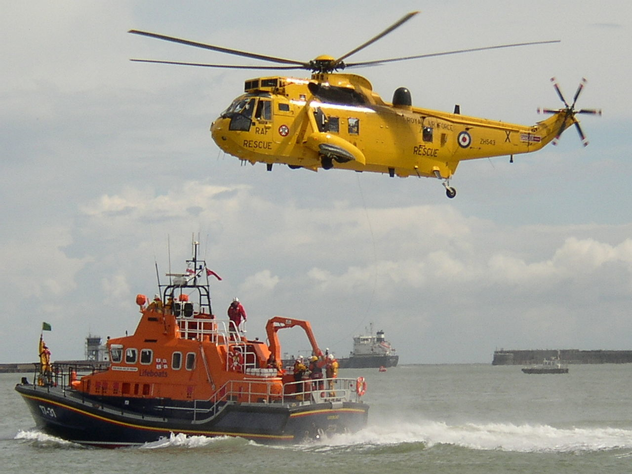 Westland Ws-61 Sea King And Lifeboat At Rescue Mission