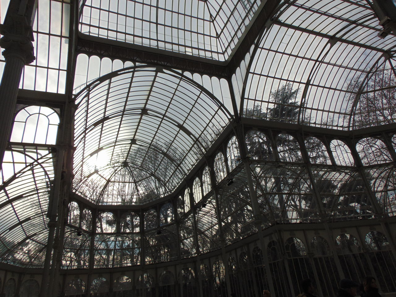 Pattern Indoors  No People Sky Day Architecture Greenhouse Built Structure Low Angle View Tree Reflection Tranquility Forest Nature Idyllic SPAIN Palace Palace Garden Palace Of Culture Palacio De Cristal Madrid Madrid Spain Madrid, Spain El Retiro Retiro Park